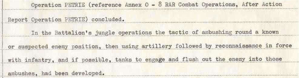 extract from 8RAR Combat Operations, After Action Report Op PETRIE [AWM95-7-8-10 refers]