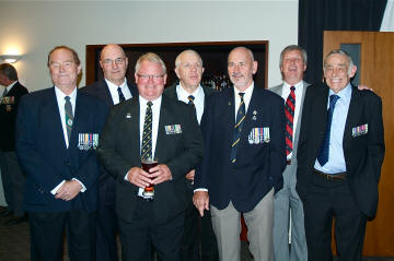 the mortar section is usually the largest section attanding any reunion - from left Doug Lewis, Bruce Young, Ross Cherry, Stu Cameron, Dave Flintoft, Mark Binning, Dave Condon [Binning]