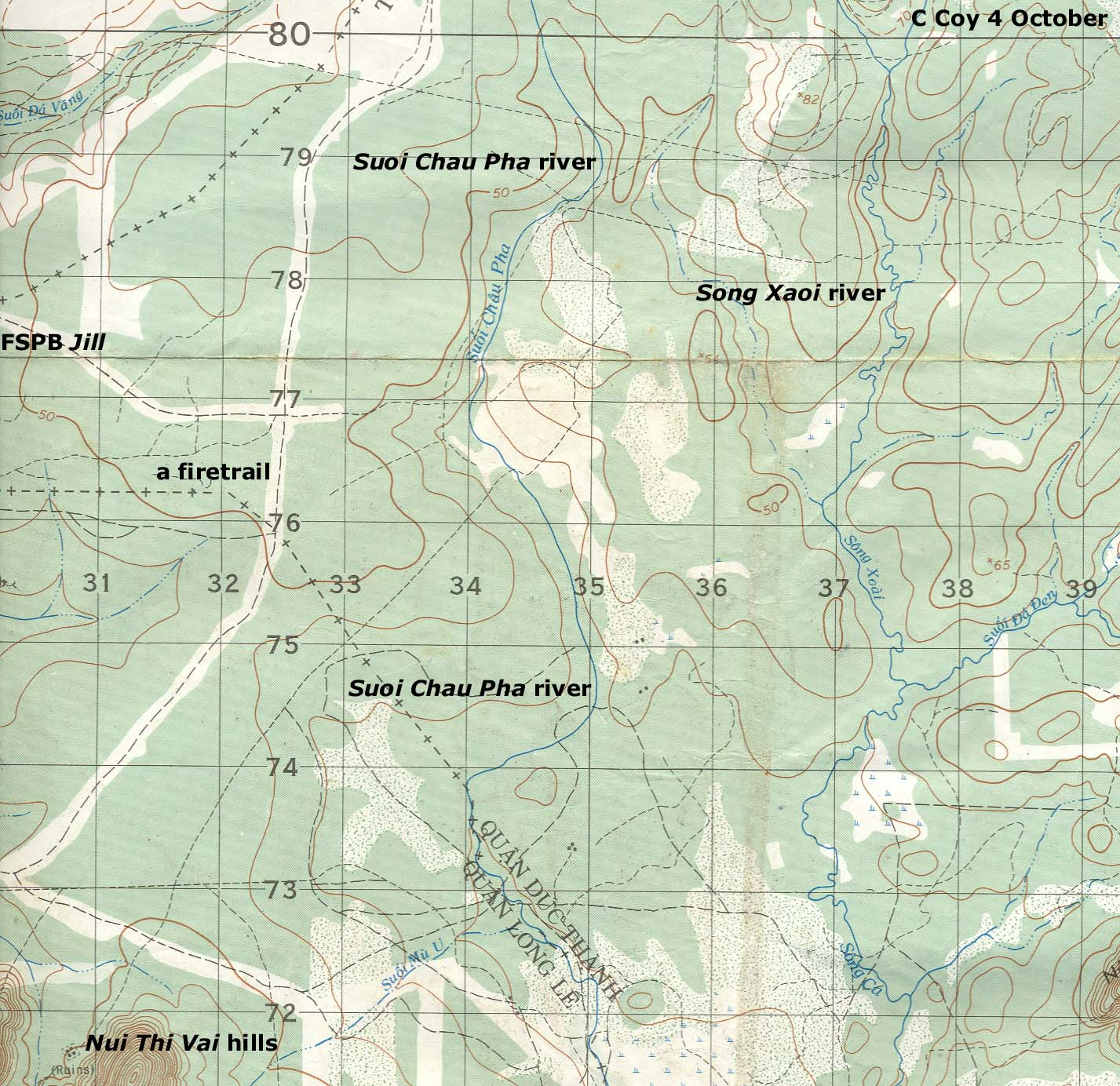 YS series map of Hat Dich area north-west of Nui Dat