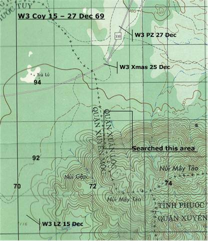 W3 movement around the NUI MAY TAU mountains Dec 69