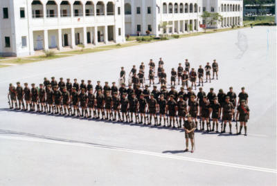 W Company Guard of Honour & 1RNZIR Band wait to welcome PM Holyoake [click to enlarge] [Young]