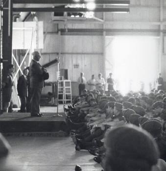 photo taken in 1RNZIR transport hanger in Nee Soon mid-January 1971.  Prime Minister Keith Holyoake speaking to soldiers after reviewing the W Company guard.  Left rear is CO 1RNZIR (later CGS) Lt Col R Williams.  [so at least one politician said 'thanks'] [Young]